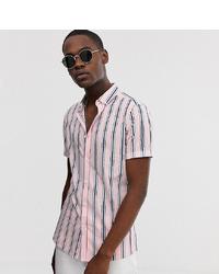 rosa vertikal gestreiftes Kurzarmhemd von ASOS DESIGN