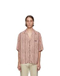 rosa vertikal gestreiftes Kurzarmhemd von Prada