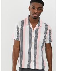 rosa vertikal gestreiftes Kurzarmhemd von Soul Star