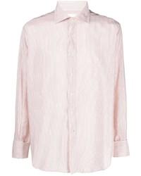 rosa vertikal gestreiftes Langarmhemd von Maison Margiela