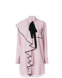 rosa vertikal gestreiftes Shirtkleid