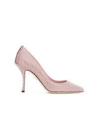 rosa verzierte Leder Pumps von Dolce & Gabbana