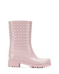 rosa verzierte Leder Stiefeletten von Valentino