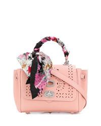 rosa verzierte Satchel-Tasche aus Leder