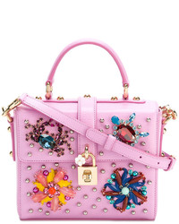 rosa verzierte Satchel-Tasche aus Leder von Dolce & Gabbana