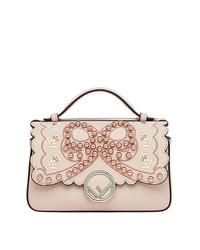 rosa verzierte Satchel-Tasche aus Leder von Fendi
