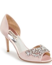 rosa verzierte Satin Pumps