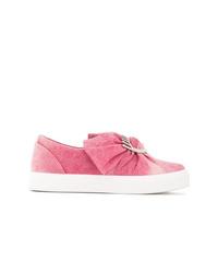 rosa verzierte Slip-On Sneakers aus Jeans von Chiara Ferragni