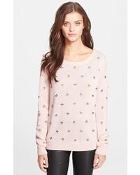 rosa verzierter Pullover mit einem Rundhalsausschnitt