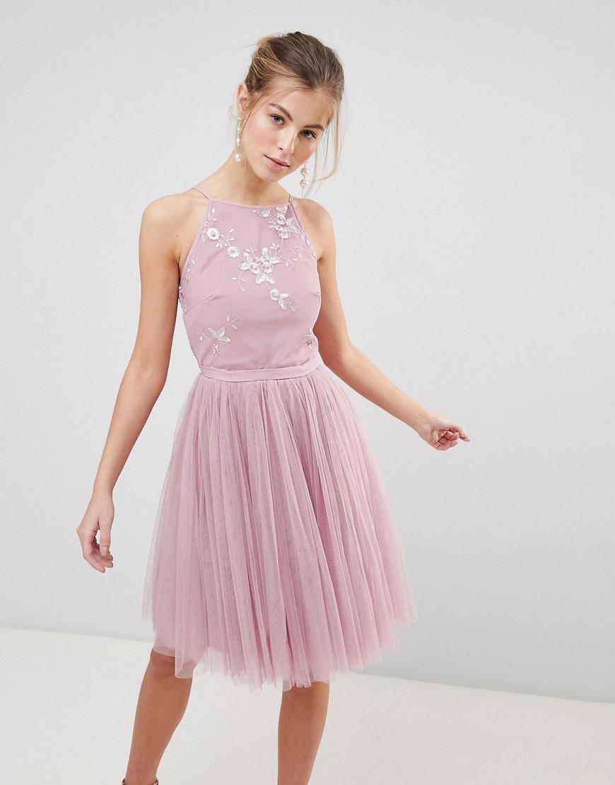 rosa verziertes ausgestelltes Kleid aus Tüll von Little Mistress