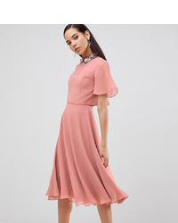 rosa verziertes Midikleid von Asos Tall