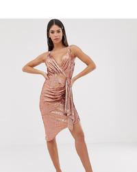 rosa Wickelkleid aus Pailletten von TFNC Tall