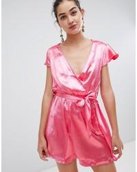 rosa Wickelkleid aus Satin von Glamorous
