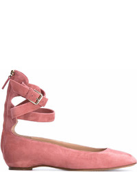 rosa Wildleder Ballerinas von Valentino