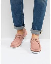 rosa Wildleder Bootsschuhe von Asos