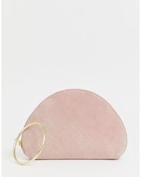 rosa Wildleder Clutch von ASOS DESIGN
