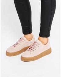 rosa Wildleder Oxford Schuhe