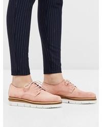 rosa Wildleder Oxford Schuhe von Bianco