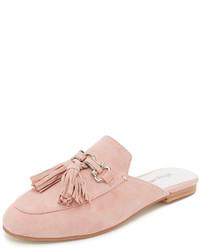 rosa Wildleder Pantoletten