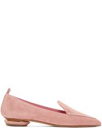 rosa Wildleder Slipper