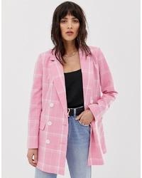 rosa Zweireiher-Sakko mit Karomuster von Vero Moda