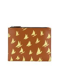 rotbraune bedruckte Leder Clutch Handtasche von Marni