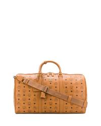 rotbraune bedruckte Leder Reisetasche von MCM