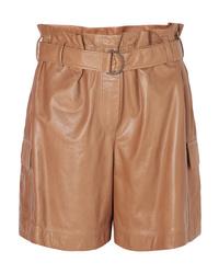 rotbraune Bermuda-Shorts aus Leder von Brunello Cucinelli