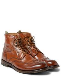 rotbraune Brogue Stiefel aus Leder