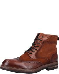 rotbraune Brogue Stiefel aus Leder von Sansibar