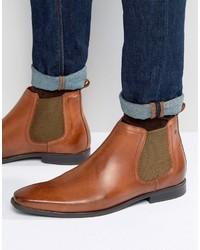 rotbraune Chelsea Boots aus Leder