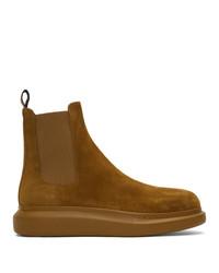 rotbraune Chelsea Boots aus Wildleder von Alexander McQueen