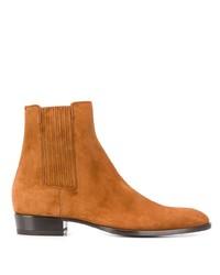 rotbraune Chelsea-Stiefel aus Wildleder von Saint Laurent