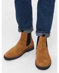 rotbraune Chelsea-Stiefel aus Wildleder von Selected Homme