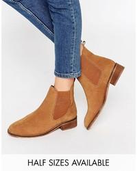 Rotbraune Chelsea-Stiefel aus Wildleder