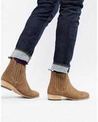 rotbraune Chelsea-Stiefel aus Wildleder von ASOS DESIGN