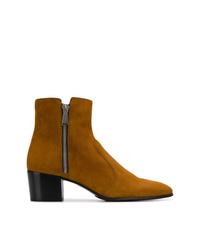 rotbraune Chelsea-Stiefel aus Wildleder von Balmain