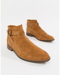 rotbraune Chelsea-Stiefel aus Wildleder von Bershka
