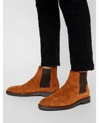rotbraune Chelsea-Stiefel aus Wildleder von Bianco