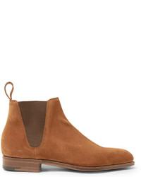 rotbraune Chelsea-Stiefel aus Wildleder von Edward Green
