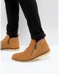 rotbraune Chelsea-Stiefel aus Wildleder von Kurt Geiger London