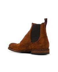 rotbraune Chelsea-Stiefel aus Wildleder von Pantanetti