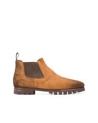 rotbraune Chelsea-Stiefel aus Wildleder von Santoni