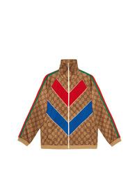 rotbraune Bomberjacke mit Chevron-Muster von Gucci