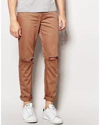 rotbraune enge Jeans