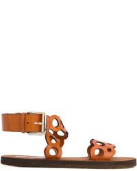 rotbraune flache Sandalen aus Leder von Stella McCartney