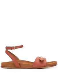 rotbraune flache Sandalen von Stella McCartney