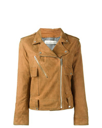 rotbraune gesteppte Leder Bikerjacke von Golden Goose Deluxe Brand