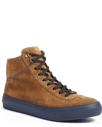 rotbraune hohe Sneakers aus Wildleder