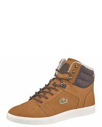 rotbraune hohe Sneakers aus Wildleder von Lacoste